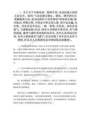 《少林内劲一指禅》功法练功要领及体会.doc