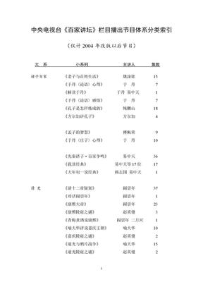 中央电视台《百家讲坛》栏目播出节目体系分类索引 [更新至2010.11]