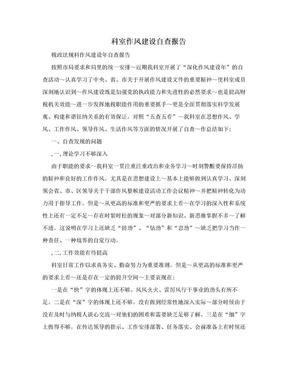科室作风建设自查报告.doc
