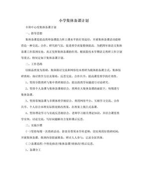 小学集体备课计划.doc