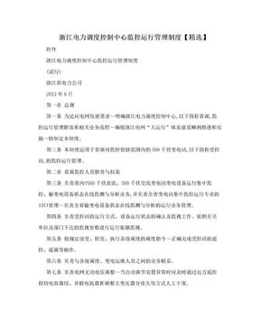 浙江电力调度控制中心监控运行管理制度【精选】.doc