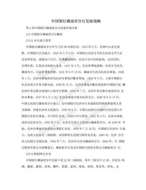 中国银行湖南省分行发展战略.doc