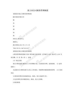 某上市公司财务管理制度.doc