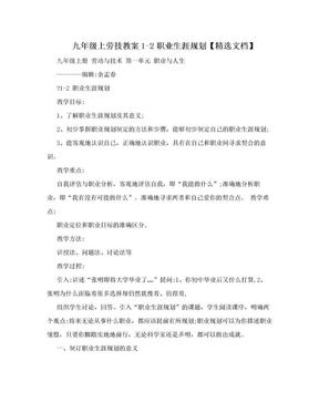 九年级上劳技教案1-2职业生涯规划【精选文档】.doc