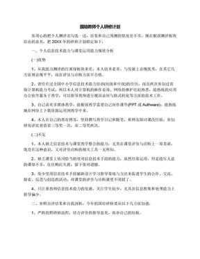 国培教师个人研修计划.docx