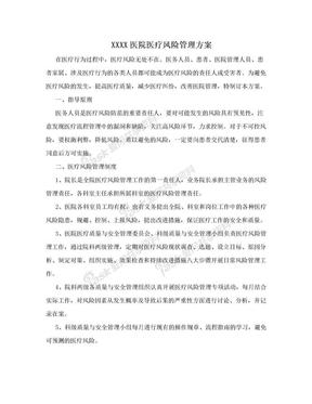 XXXX医院医疗风险管理方案.doc