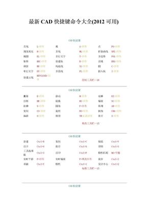 CAD最新快捷键命令大全(2012可用).doc