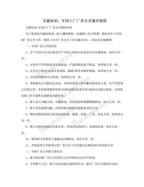 文秘知识:车间工厂厂务公开规章制度.doc