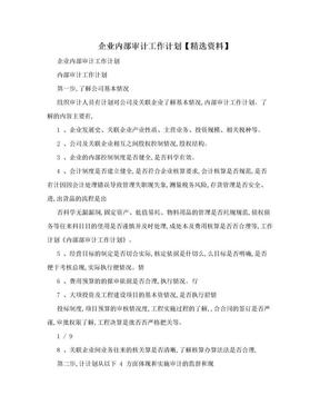 企业内部审计工作计划【精选资料】.doc