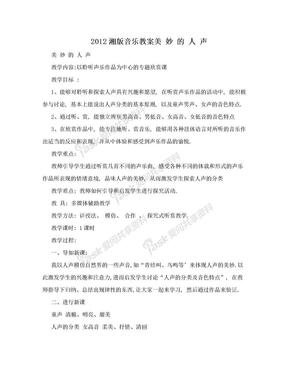 2012湘版音乐教案美 妙 的 人 声.doc