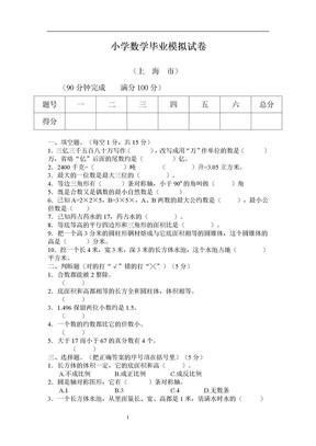 上海市小学数学毕业模拟试卷.doc