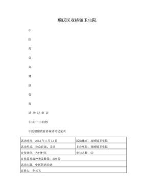 2012健康教育咨询活动记录表(糖尿病2).doc