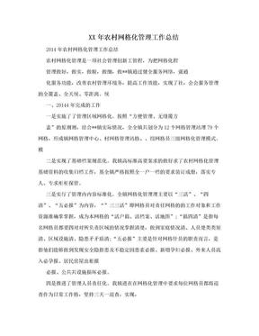 XX年农村网格化管理工作总结.doc