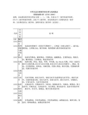 中华人民共和国学科分类与代码简表(国家标准GBT 13745-2009).doc