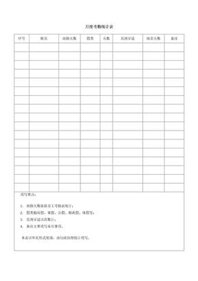 月度考勤统计表