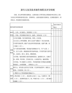 新生儿复苏技术操作规程及评分细则.doc