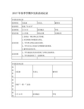 2017年春季学期少先队活动记录.doc