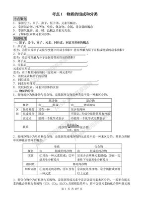 高三化学新课标(人教版)第一轮复习全套教学案(61个考点).doc