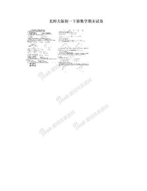北师大版初一下册数学期末试卷.doc