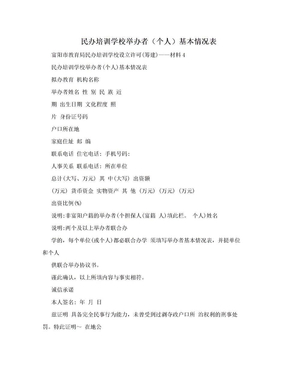 民办培训学校举办者(个人)基本情况表.doc
