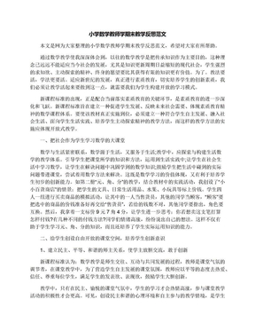 小学数学教师学期末教学反思范文.docx