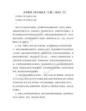 小学财务工作计划范文(2篇)(范本) (2).doc