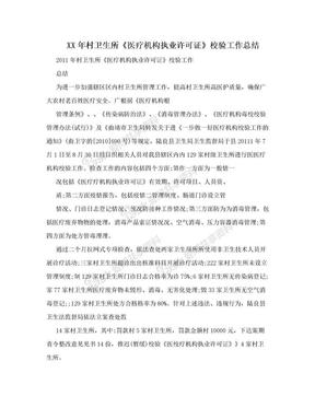 XX年村卫生所《医疗机构执业许可证》校验工作总结 .doc