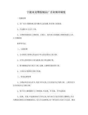 宁波双龙塑胶制品厂企业规章制度.doc