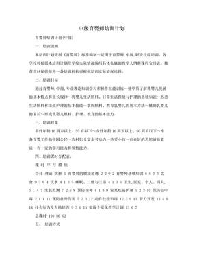 中级育婴师培训计划.doc