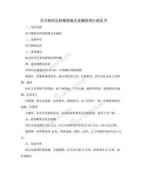 长汀镇哈达村葡萄观光采摘园项目建议书.doc