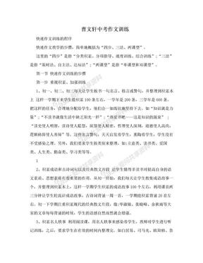 曹文轩中考作文训练.doc