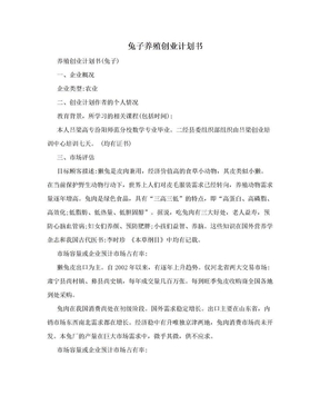 兔子养殖创业计划书.doc
