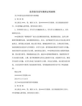 培养指导青年教师证明材料.doc