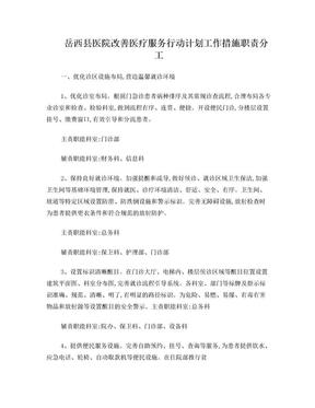 岳西医院改善医疗服务行动计划工作措施职责分工.doc