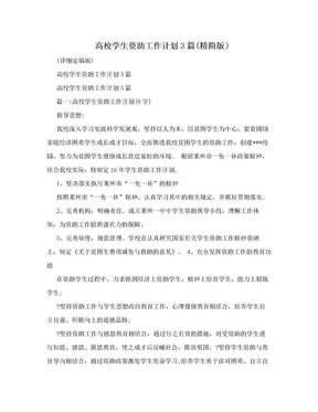 高校学生资助工作计划3篇(精简版).doc