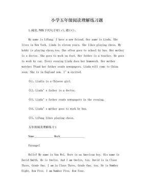 五年级英语阅读理解练习题集锦.doc