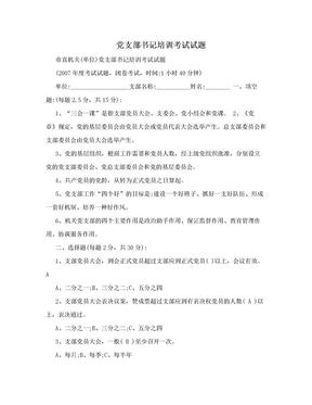 党支部书记培训考试试题.doc