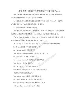 小学英语一般疑问句和特殊疑问句知识精讲.doc.doc