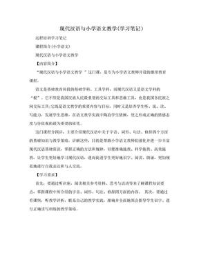 现代汉语与小学语文教学(学习笔记).doc
