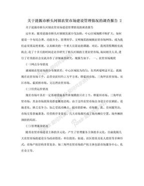 关于涟源市桥头河镇农贸市场建设管理情况的调查报告 2.doc
