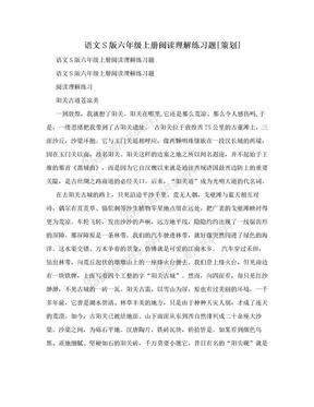 语文S版六年级上册阅读理解练习题[策划].doc