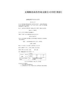 无锡顺思商务咨询无限公司章程[精彩].doc