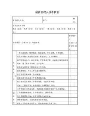 储备管理人员绩效考核表.doc