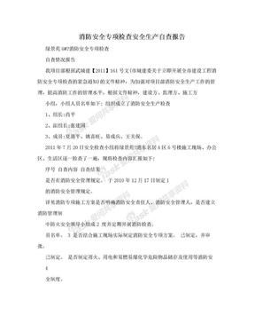 消防安全专项检查安全生产自查报告.doc