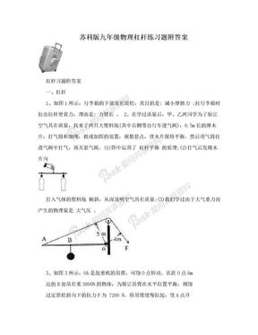 苏科版九年级物理杠杆练习题附答案.doc