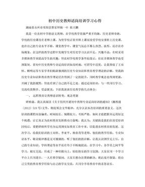 初中历史教师适岗培训学习心得.doc