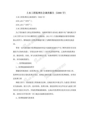 土木工程监理社会调查报告 (5000字).doc