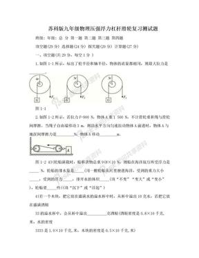 苏科版九年级物理压强浮力杠杆滑轮复习测试题.doc