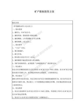 矿产股权投资方案.doc
