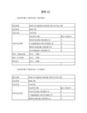 分包单位施工方案评审表.doc